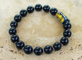 Onyx Brass African Trade Bead Stretch Bracelet - Men
