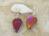 Rainbow Lustre Glass Ceramic Bead Earrings