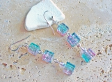 Rainbow Square Glass Earrings A Bit Of Sparkle Pink and Green Collide