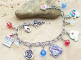 Red White And Blue All American Nurse Charm Bracelet - Beautiful