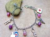 Registered Nurse Breast Cancer Awareness Charm Bracelet