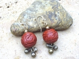 Short Carved Wooden Earrings with Matte Brass Dangles