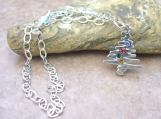 Sterling Silver Christmas Tree and Crystal Charm Bracelet - Beautiful!