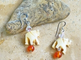 Trunk Up Elephant Carved Bone Beads with Swarovski Crystals Earrings
