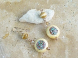 Wooden Coin Shaped Earrings With Fiber Optic Beads and Swarovski Crystal Accents - Unique