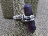 Amethyst Point with Crystal Accent Sterling Silver Wire Wrap Rin