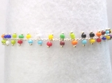Fanciful, Dainty multi colored seed bead Ankle Bracelet