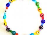 Multi-colored Evil Eye Glass Bead Stretch Ankle Bracelet