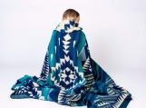 Native Tribal Alpaca Wool Picnic Boho Blanket / Throw (Teal, Queen) (teal)