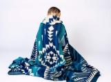Native Tribal Alpaca Wool Picnic Boho Blanket / Throw (Teal, Queen) (teal)