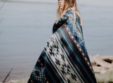 Native Tribal Alpaca Wool Woven Blanket (Blue)
