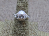 Natural Pearl Sterling Silver Wire Wrap Ring