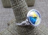 Sterling Silver Wire Wrap Ring Made with Bezel Set Swarovski Cry