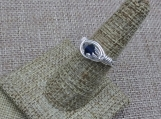 Sterling Silver Wire Wrap Ring Made with Blue Swarovski Crystal