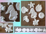 7 Sea Creatures Mosaic Tiles Fine Porcelain Pale Rose Mother of Pearl Seahorse Starfish Sand Dollar Nautilus Trilobite