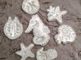 7 Sea Creatures Mosaic Tiles Fine Porcelain Pale Turquoise Mother of Pearl Seahorse Starfish Sand Dollar Nautilus PT