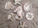 7 Sea Creatures Mosaic Tiles Fine Porcelain Turquoise Mother of Pearl Seahorse Starfish Sand Dollar Nautilus .3