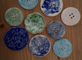 9 Large Ceramic Buttons 40-50mm  Mixed Lot