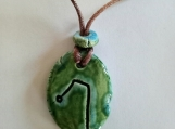 Archangel Raphael Necklace Green Ceramic Pendant