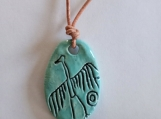 Big Crane Necklace Anasazi Pendant Turquoise Ceramic