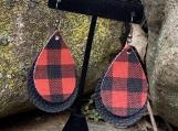 Buffalo Check Faux Leather Earrings