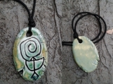 Chaco Fajada Butte Petroglyph Pendant Ceramic Sea Green Native American Rock Drawings New Mexico