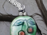 Cherry Necklace Green Ceramic Fruit Pendant Silver Plated Chain