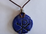 Chi Rho Necklace Blue Ceramic Pendant Good Fortune Pagan Amulet