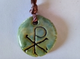Chi Rho Necklace Green Ceramic Pendant