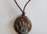 Hopi Hand Necklace Blue Bronze Ceramic Pendant
