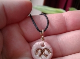 Horseshoes Necklace with Genuine Gold Lustre & Pink Porcelain