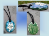 Kanji Dream Aromatherapy Necklace Turquoise Green Ceramic