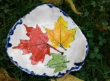 Maple Leaf Dish Ceramic Bowl Spoon Rest Red Yellow Green Leaf Pottery Dish
