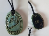 Mayan EB Necklace Mesoamerican Ceramic GRASS Glyph Pendant Tzolk'in Day Sign Amulet Aztec Symbol