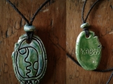 Mayan KABAN Necklace Earthquake Glyph Pendant Tzolk'in Day Sign Amulet Turquoise Blue
