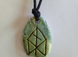 ODIN Rune Necklace Norse Runestone Green Ceramic