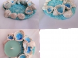 Porcelain Sea Barnacle Tea Lite Holder Beach Decor .2