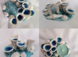 Porcelain Sea Barnacle Tidal Pool Tea Lite Holder Beach Decor