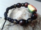 Rainbow Bracelet with Ceramic Beads & Red Tiger Eye
