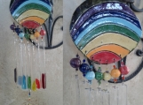 Rainbow Glass Clay Wind Chime Ceramic Pottery Garden Decor