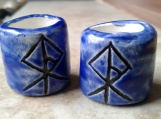 Set 2 Viking Warrior Rune Macrame Beads Large Hole Blue Ceramic