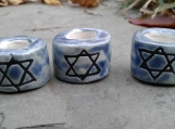 Set 3 Star of David Macrame Beads Blue Ceramic