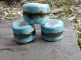 Set 3 Turquoise Gold Macrame Beads Large Hole Ceramic
