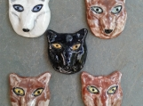Set 5 Wolf Cabochons Fine Porcelain Wolf Pendants Animal Canine Red Black White Brown