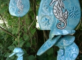 Silver Seahorse Clay Wind Chime Pottery Garden Decor