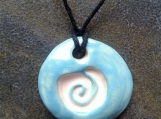 Spiral Aromatherapy Necklace Turquoise Essential Oil Diffuser Ceramic Clay Pendant