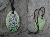Taino Frog Necklace Turquoise Green Ceramic Pendant Petroglyph