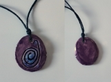 Taino Snail Necklace Ceramic Amulet Purple Petroglyph Caribbean Water Symbol