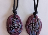 Twin Flame Atlantean Necklaces Purple Ceramic Pendants Set of 2