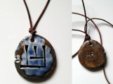 UR Wolf Cuneiform Necklace Sumerian Canine Blue Bronze Ceramic